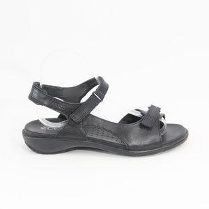 Ecco Black Leather Sandals Women Comfort Shoe